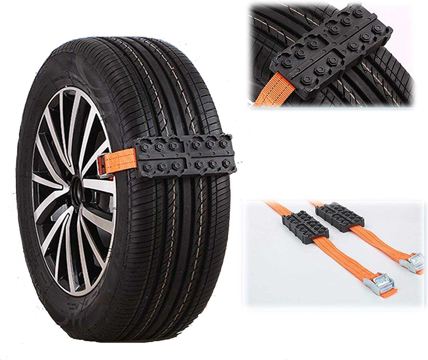 2 PCS Car Tire Anti-Skid Chains Snow Tire Chain Straps/ Anti-Slip Car Tyre Belt Protection Chain Universal Emergency chain,Portable Skid Block for Car//Truck//SUV Outdoor Emergency