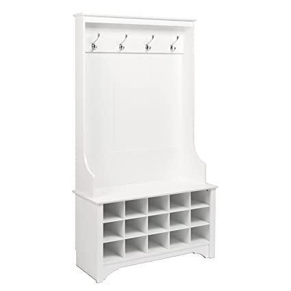 Prepac Hall Tree with Shoe Storage in White  sc 1 st  Amazon.com & Amazon.com: Prepac Hall Tree with Shoe Storage in White: Kitchen ...