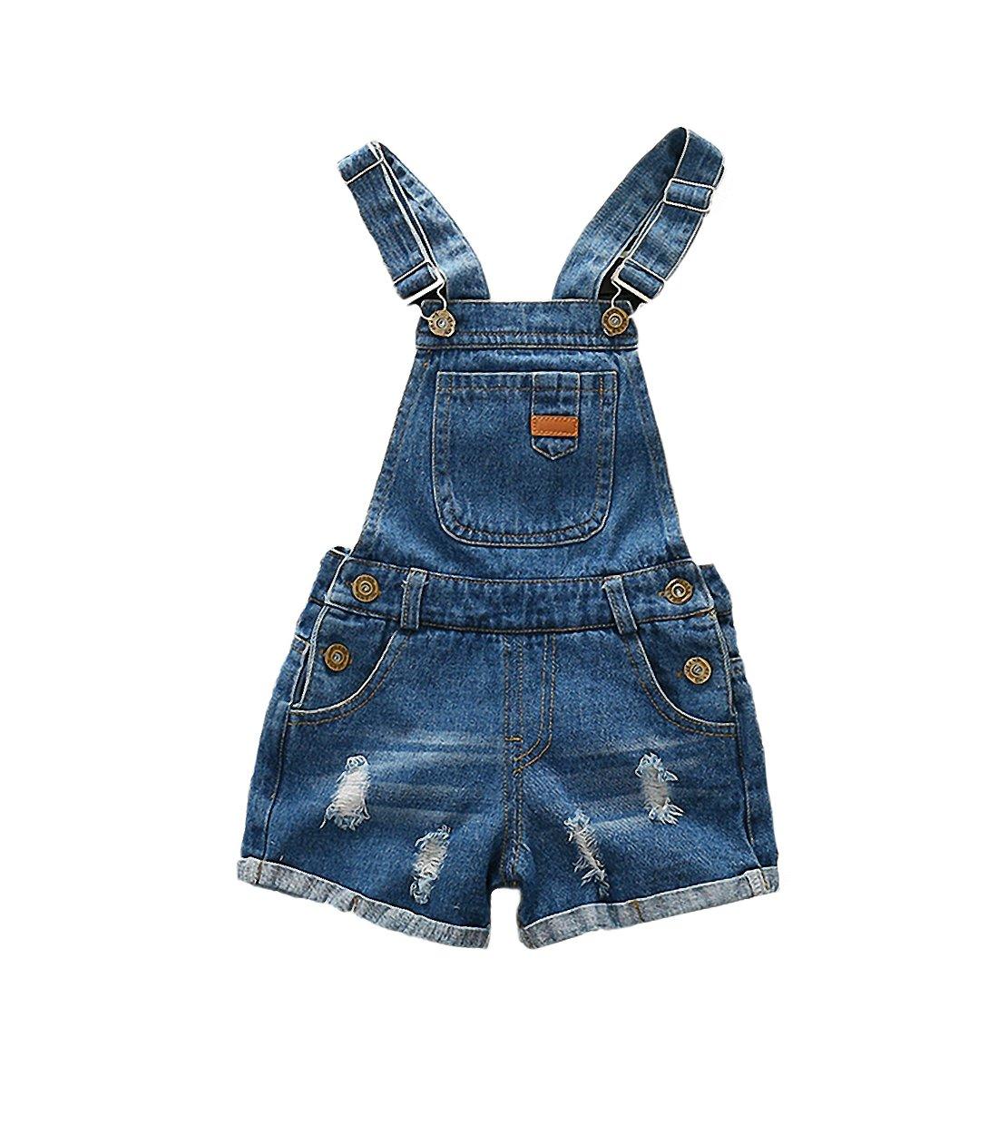 Kidscool Girls/Boys Big Bib Ripped Jeans Summer Shortall,Blue,6-7 Years