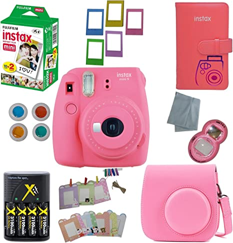 Fujifilm Instax Mini 8 Cámara instantánea – 10 Pack – Cámara de accesorios, – 20 Instax película – Funda de