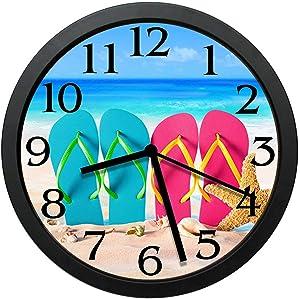 GeTJonesRiGhT Flip Flop Wall Clock New - Summer Fun Clock - Large 10inWall Clock - Home Decor Clock-Wall Decor Coastal Nautical Beach 10in