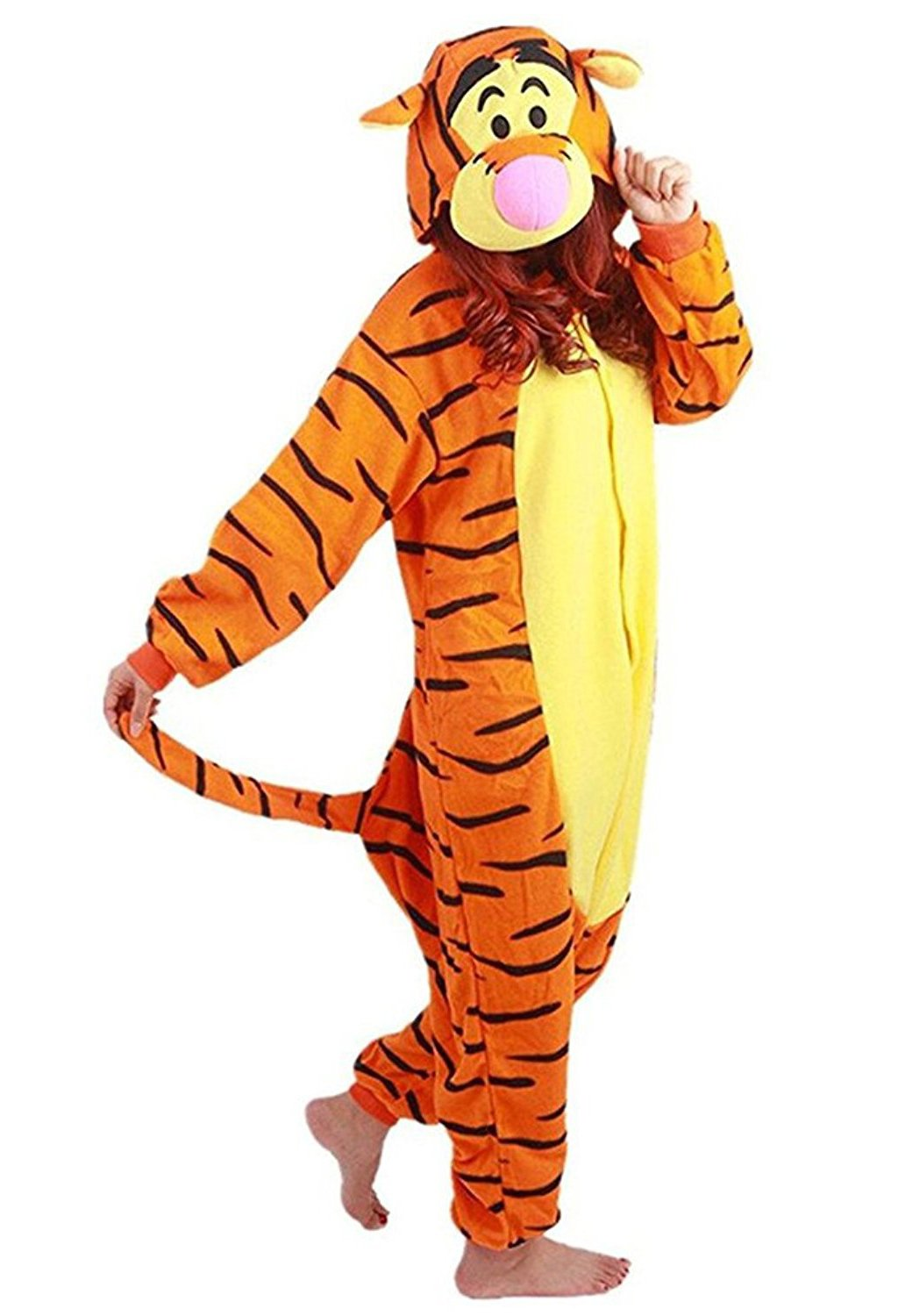 AooToo Halloween Onesie Costume Animal Cosplay Pajamas Unisex(Yellow, L (Height 66''-70''))