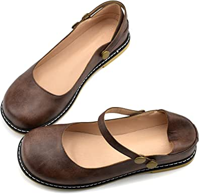 100FIXEO Women Buckle Ankle Strap Mary Jane Flat Shoes (7.5, Dark Brown)