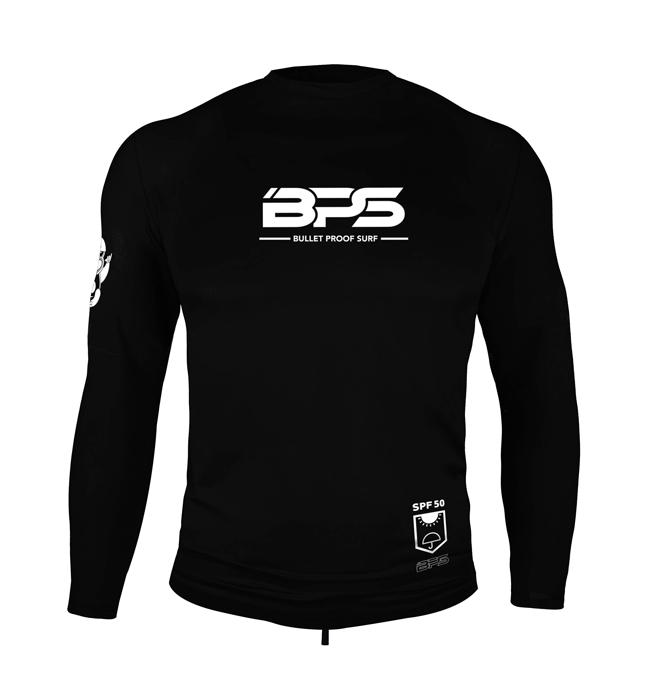 BPS Men's UPF 50+ Short Sleeve Sun and Swim Shirt/Rash Guard - Choose with or Without Sunglasses Strap (Long Sleeves - Black, Small)