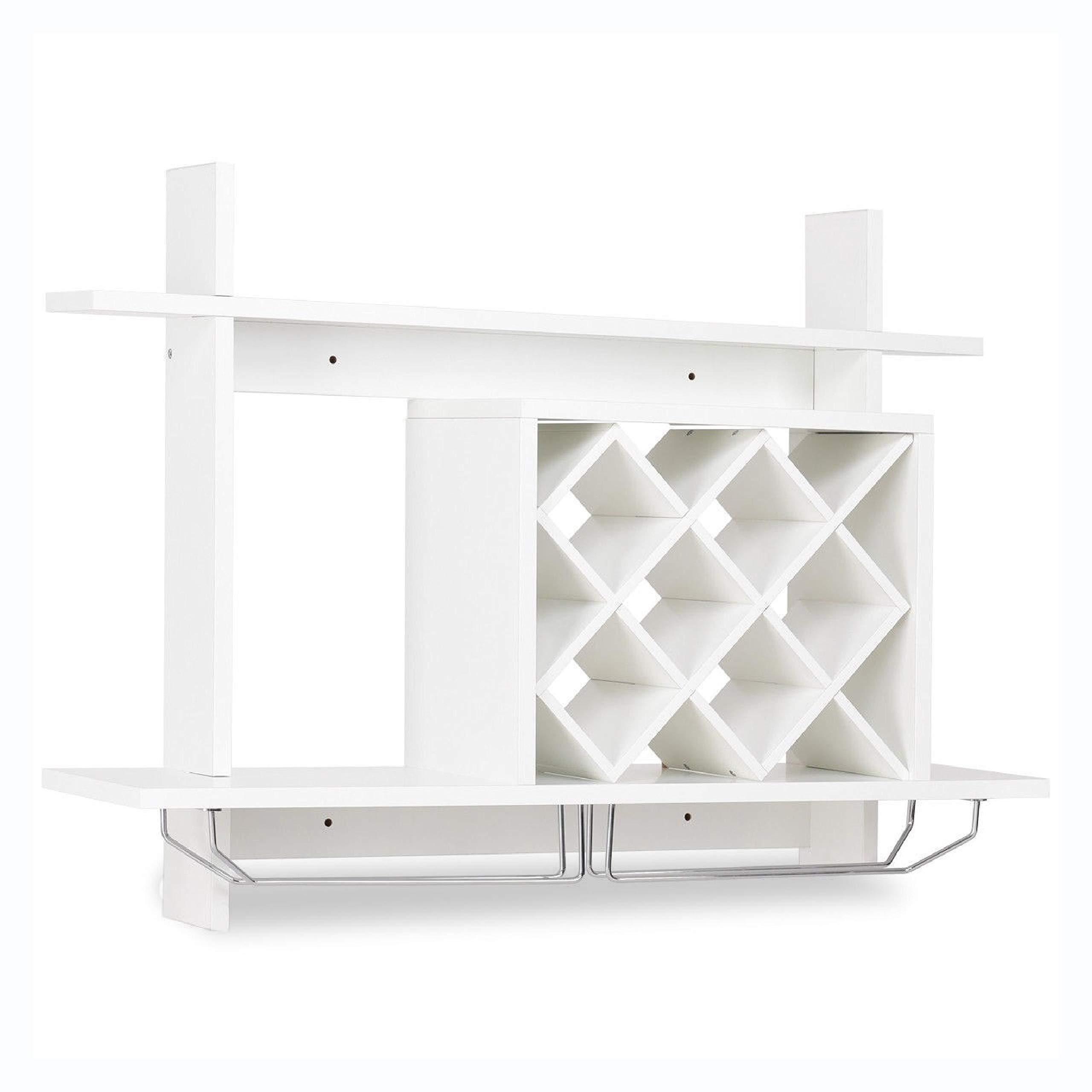 Wine Rack, Wall Mount Wine Rack w/Glass Holder & Storage Shelf