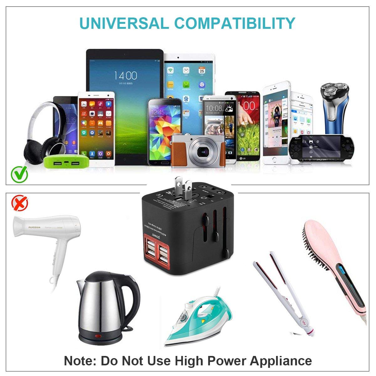 WANKOTE Adaptateur de Voyage avec 4 USB Adaptateur Tout-en-Un Multi-Prise daptateur et Chargeur Convertisseur pour US UK AUS EU Environ 150 Pays