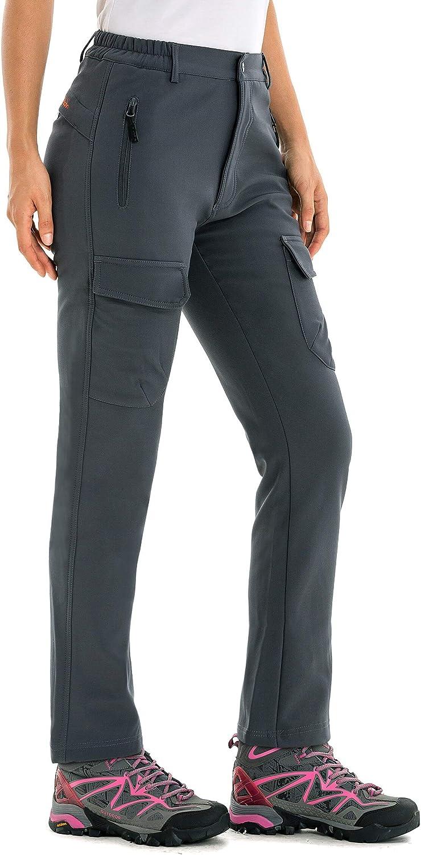 Water-Repellent U.mslady Womens Fleece-Lined Soft-Shell Cargo Pants Wind-Resistant