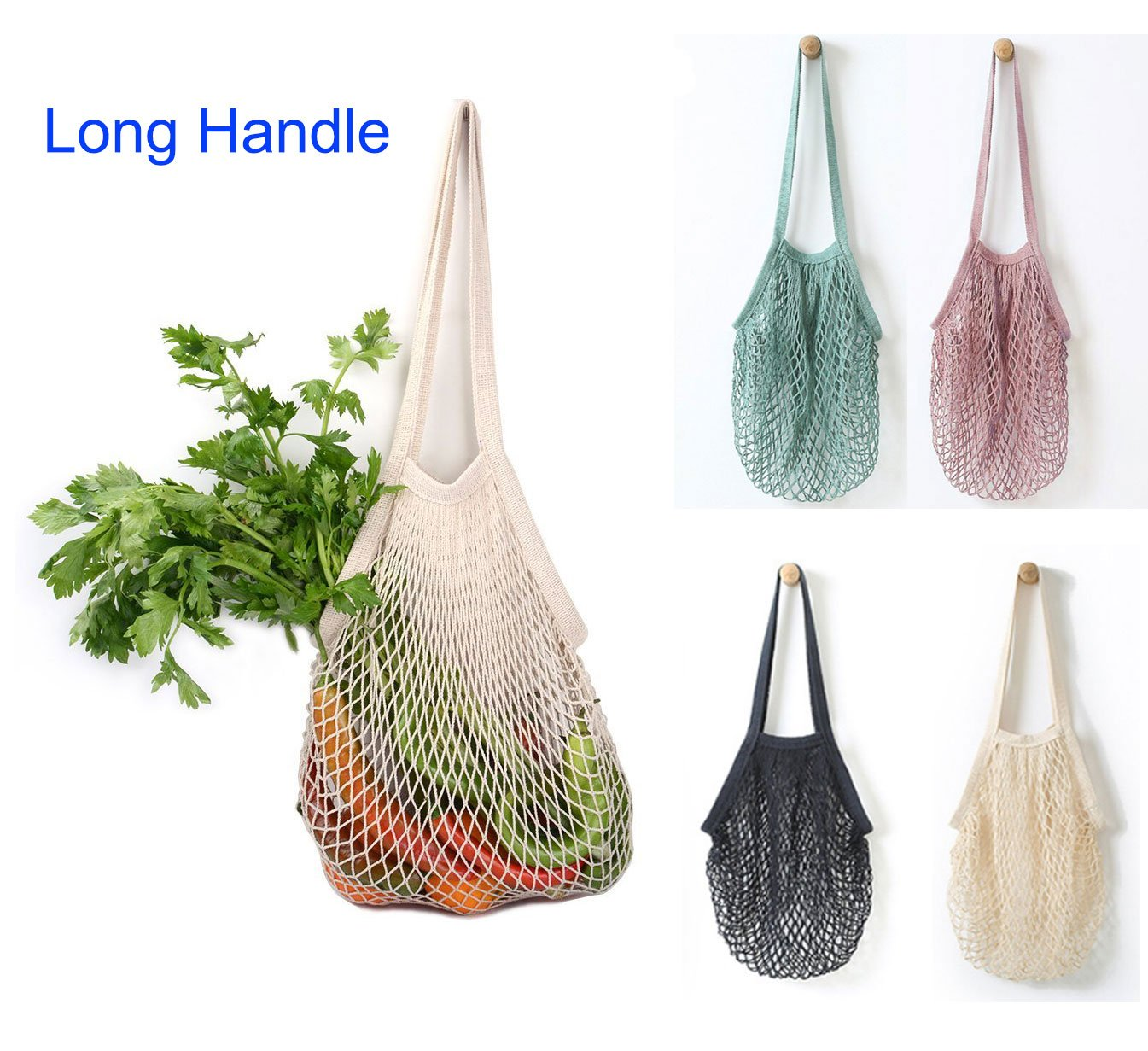 Sysly Pack of 4 Cotton Reusable Net Shopping Tote String Bag Organizer for Grocery Shopping & Beach, Storage, Fruit, Vegetable and Toys -Lightweight & Sturdy Mesh Produce bag (Long Handle)