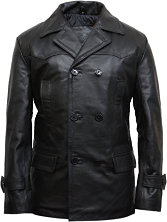 German Air Force Black Men/'s WW2 Military Real Cowhide Leather Jacket Pea Coat