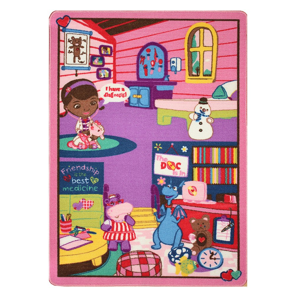 """Disney Junior Girls Toy Rug Carnival Doc McStuffins Toys Play Mat Bedding Game Rugs w/ Doctor's Play Set, 32""""x44"""""""