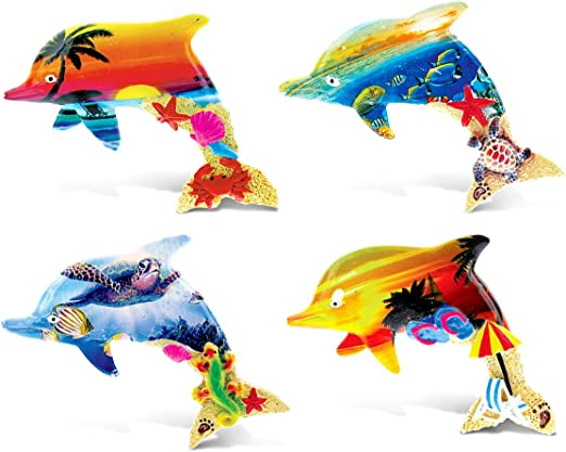 CoTa Global Colorful Summer Refrigerator Magnets 4pc Set Sea Horses Puzzled Inc 7581