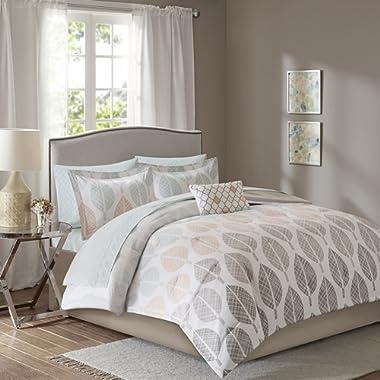 Madison Park Essentials Central Park King Size Bed Comforter Set Bed in A Bag - Coral, Aqua, Taupe, Leaf – 9 Pieces Bedding Sets – Ultra Soft Microfiber Bedroom Comforters