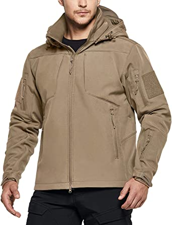 CQR Men's Winter Tactical Military Jackets, Lightweight Waterproof Fleece Lined Softshell Hunting Jacket w Hoodie