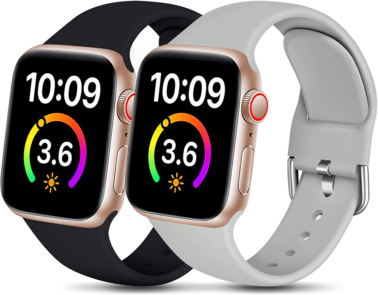Dirrelo Compatible for Apple Watch Bands 40mm 38mm Series SE 6 5 4 3 2 1 Strap, Soft Silicone Replacement Sport Wrist Band for iwatch Band Women Men, Small Black & Gray 2-Pack