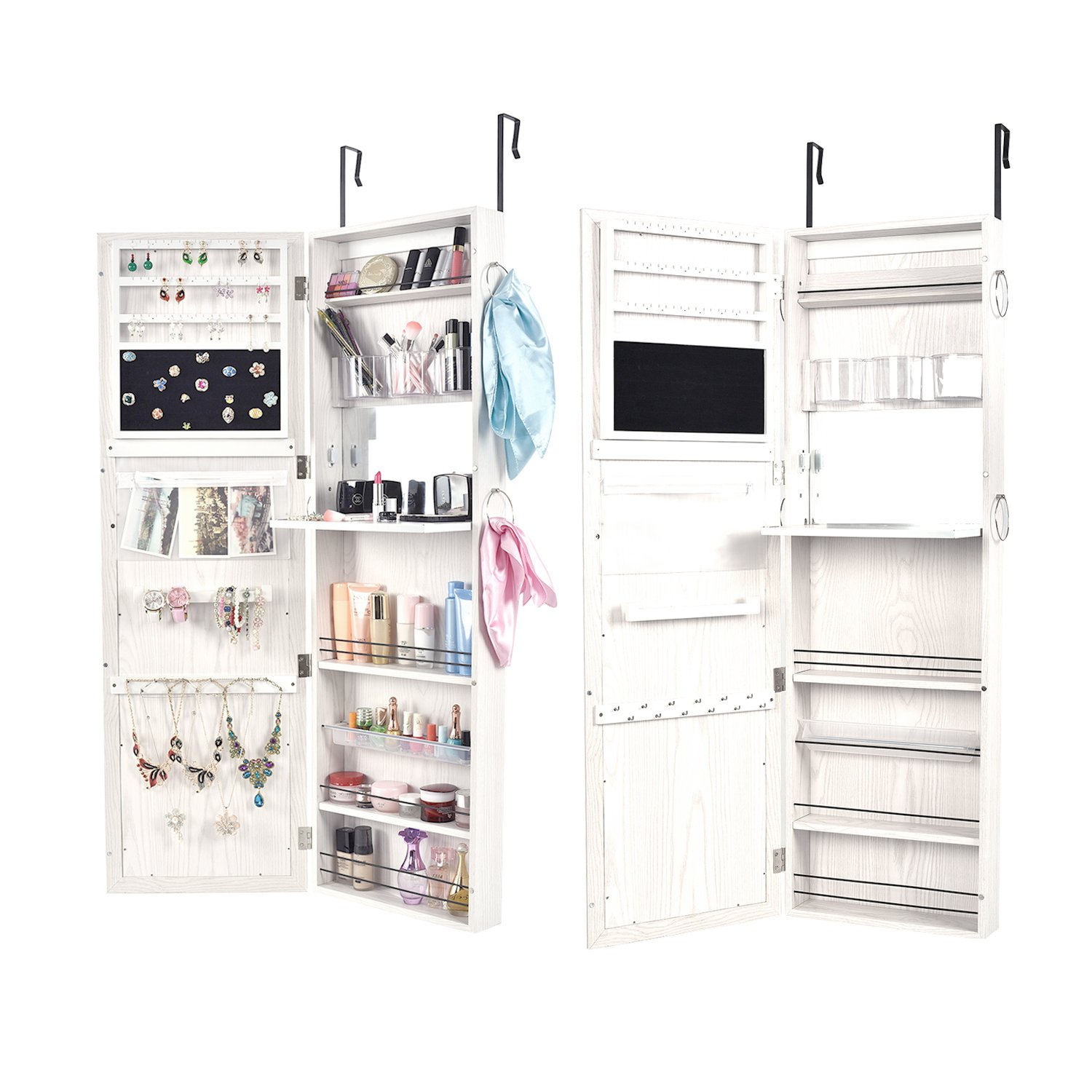 Bonnlo Jewelry Armoire Mirror Cabinet, cLockable Make up Bedroom Organizer with 4 Adjustable Angle Tilting Steady Closet Heavy Duty Wood Storage