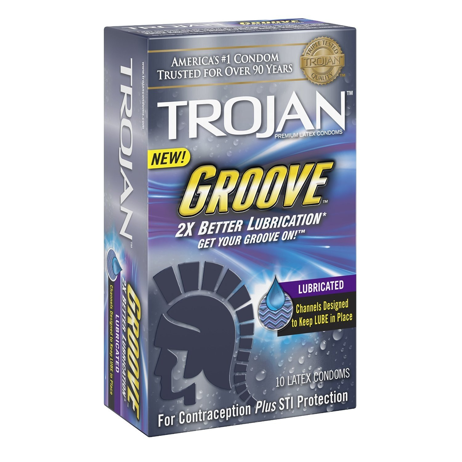 Trojan Groove Lubricated Condoms, CmbUti,10 Count Per Box (Pack of 2) by Trojan