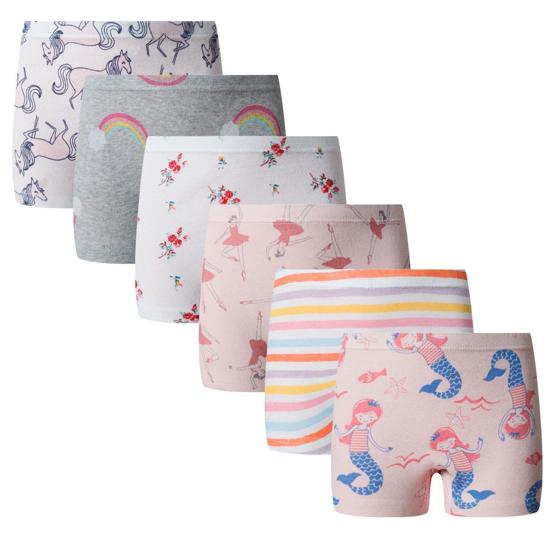 Boboking Baby Soft Cotton Panties Little Girls'Briefs Toddler Underwear (Pack of 6) 2-4years