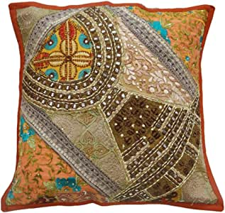 Floral Pattern Cushion cover Embroidered Throw Orange Patchwork Home Decor Pillow Case 16'' Inches
