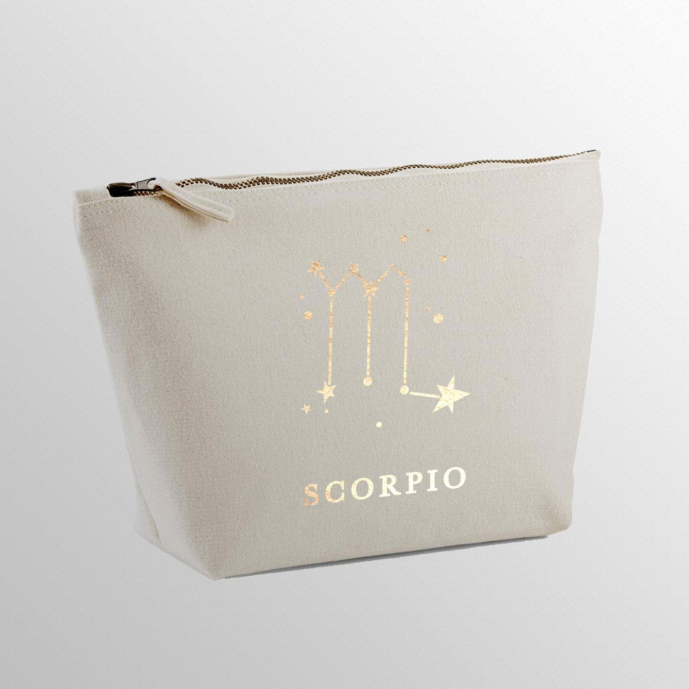 Rose Gold Name Custom Text Personalised Makeup Bags With Customized Name MakeUp Bag Make Up Bags for Women Toiletry Bag Travel Accessories Horoscope Zodiac Personalised Gifts Scorpio Star Sign