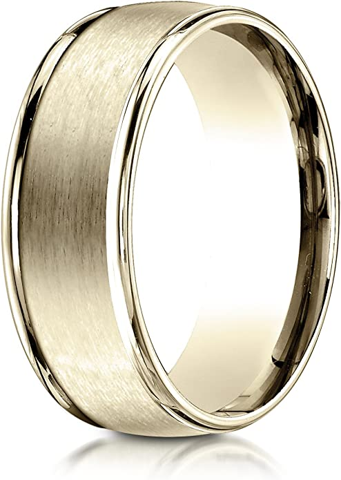 Sizes 4-15 Benchmark 14K Yellow Gold 2mm High Polished Faceted Design Wedding Band Ring