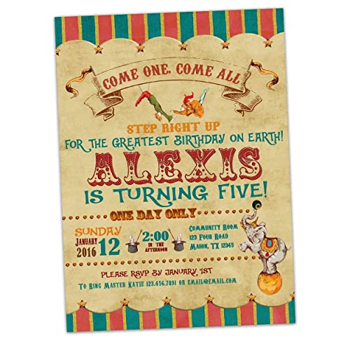 Image Unavailable Not Available For Color Vintage Circus Birthday Invitations