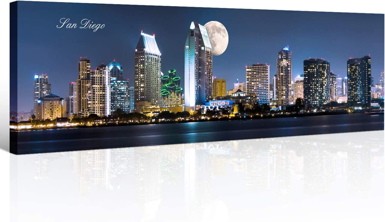 San Diego Skyline Wall Art for Living Room Cityscape Canvas Modern Home Decor Panorama Pictures City Building House Decorations Skyscraper Artwork Night View Posters and Prints 12x46 Inch 1 Panel