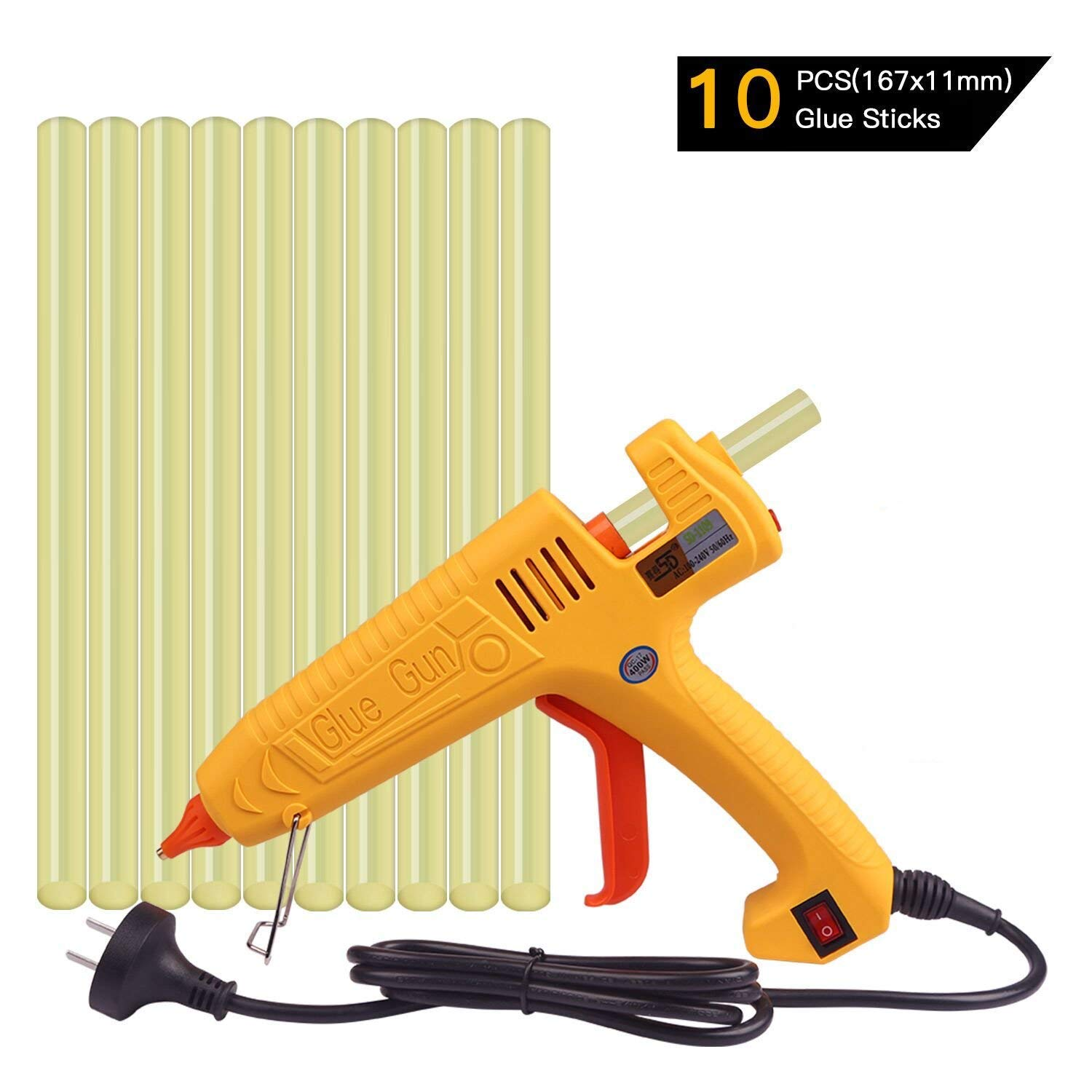FLY5D 400W Hot Melt PDR Glue Gun with 10pcs Super Sticky Glue Sticks for Auto Metal Dent Puller Repair Home Use DIY for Arts & Crafts & Sealing and Quick Repairs (400W Glue Gun Set)