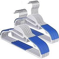 Sable Cintres Plastiques Adultes, Économie d'Espace, Plastique ABS (Matériau ABS Haute qualité, Revêtement Anti-dérapant, Crochet pivotant chromé 360°), Bleu & Blanc