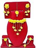 Bharat Sales Floret Yellow Color Gota Patti Necklace, Earrings, Bracelet & Maang Tika For Women & Girls (Mehandi/Haldi/Bride)