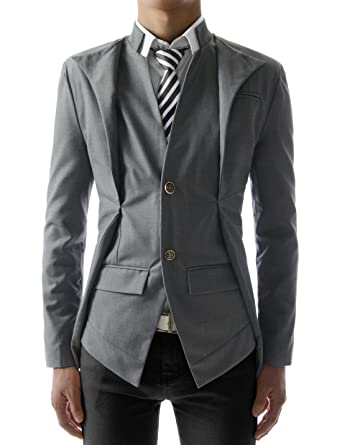 TheLees Mens Slim Fit Double Collar 2 Button Jacket at Amazon ...