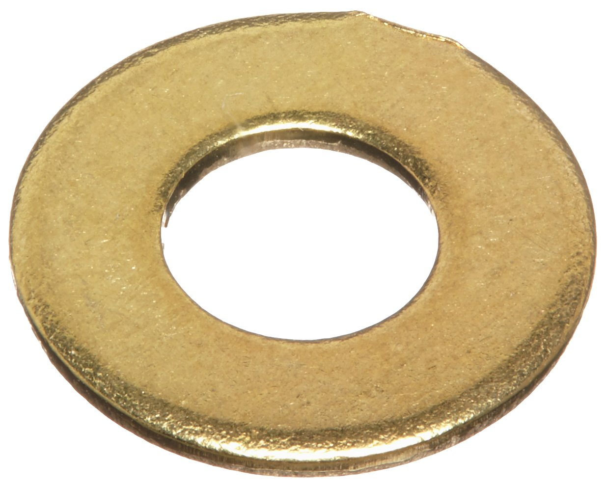 Brass Flat Washer, Plain Finish, 1/4'' Screw Size, 0.26'' ID, 9/16'' OD, 0.04'' Thick (Pack of 100)