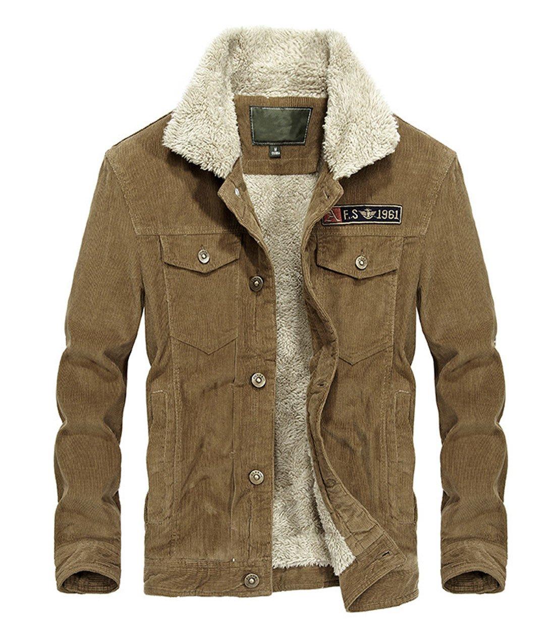 Chartou Men's Vintage Button-Front Sherpa Lined Shearling Slim Fit Corduroy Denim Jacket (Medium, Khaki-Fleece)