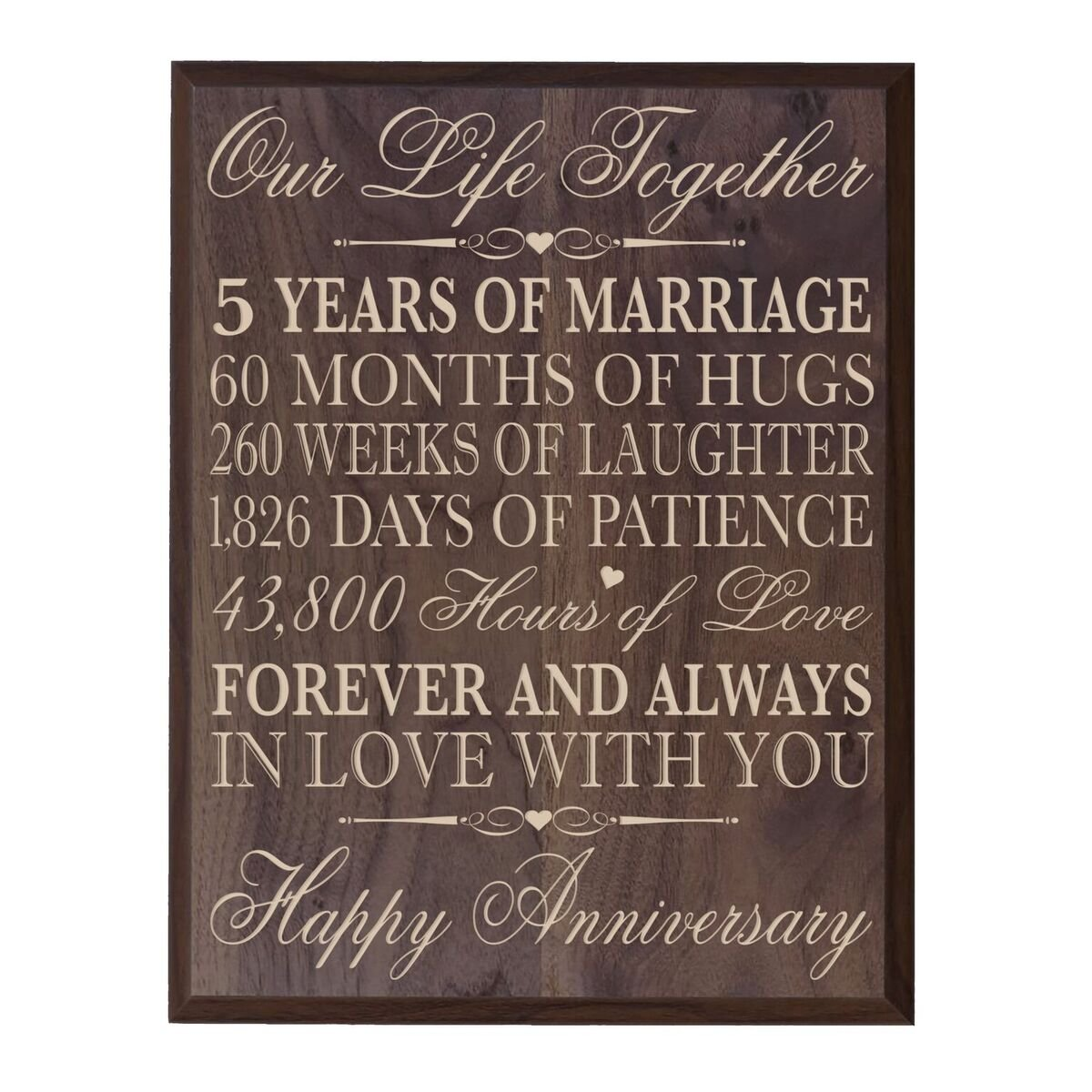 5th Wedding Anniversary Wall Plaque Gifts for Couple, 5th Anniversary Gifts for Her,5th Wedding Anniversary Gifts for Him 10.75'' W X 13'' H Wall Plaque By LifeSong Milestones (Grand Walnut)