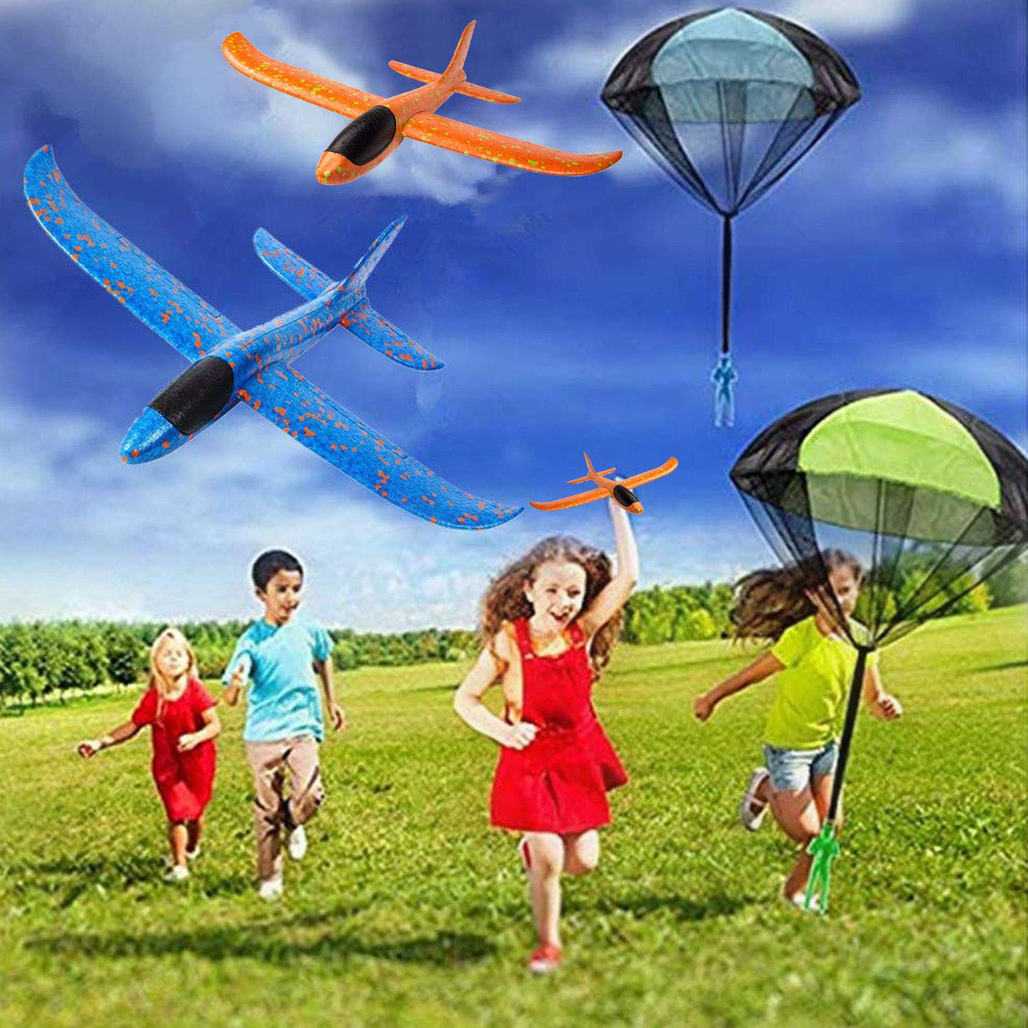 7 Pack Toy Airplane Glider for Kids, 2P 13.5'' Inch Throwing Foam Plane Kit Aircraft Jet+5P Toy Parachute Tangle Free Throwing, Outdoor Sports Flying Toys for Boys Girls Toddlers Teens Birthday Gift by iGeeKid (Image #2)