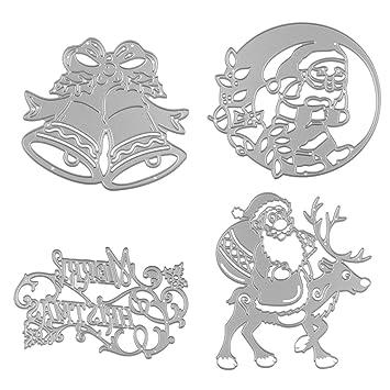 MagiDeal 4 Stück Weihnachten Metall Schneiden Schablonen für DIY ...