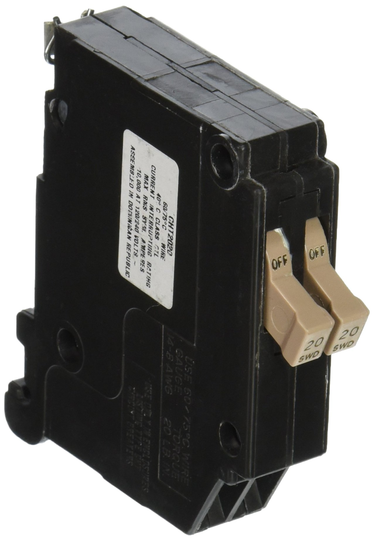 Eaton Circuit Breaker Type Br 20 Amp Singlepole Ground Fault Corporation Ch Twin Chnt2020 Single Pole Replacement