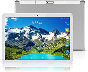 Android 8.1 Tablet 10.1 inch,Octa Core Processor,4GB RAM+64GB Storage,2MP+8MP Camera,3G Dual SIM Phablet,WiFi,GPS,OTG(Silver)