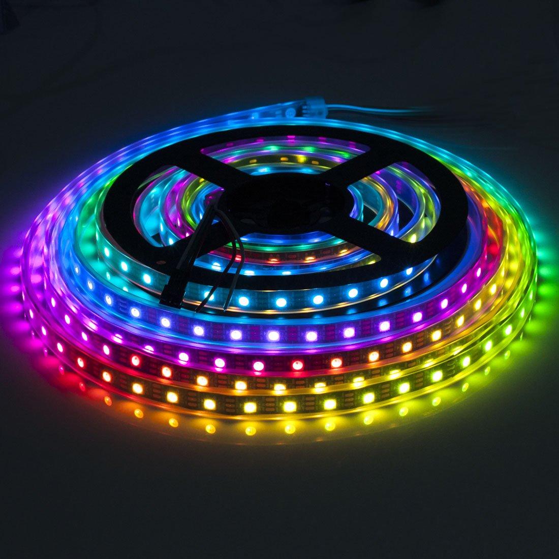 BTF-LIGHTING RGBW RGBWW Warmweiß SK6812 (ähnlich WS2812B) 5m 60leds pixels m Individuell adressierbar Flexibel 4 farbe in 1 LED Traumfarbe LED Streifen Wasserdicht IP67 DC5V Schwarz PCB