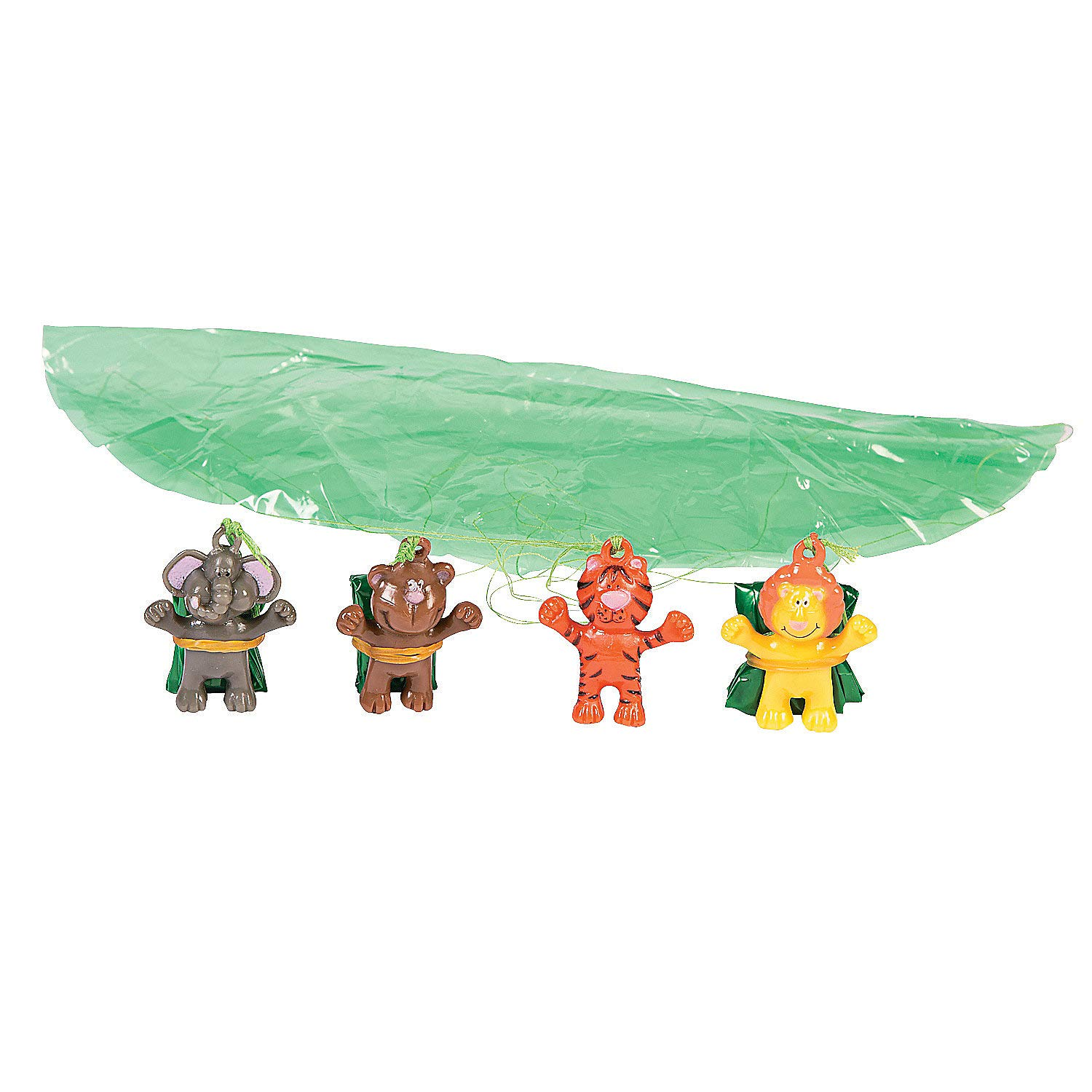Fun Express - Zoo Animal Paratroopers (4dz) - Toys - Character Toys - Wind Ups & Paratroopers - 48 Pieces by Fun Express