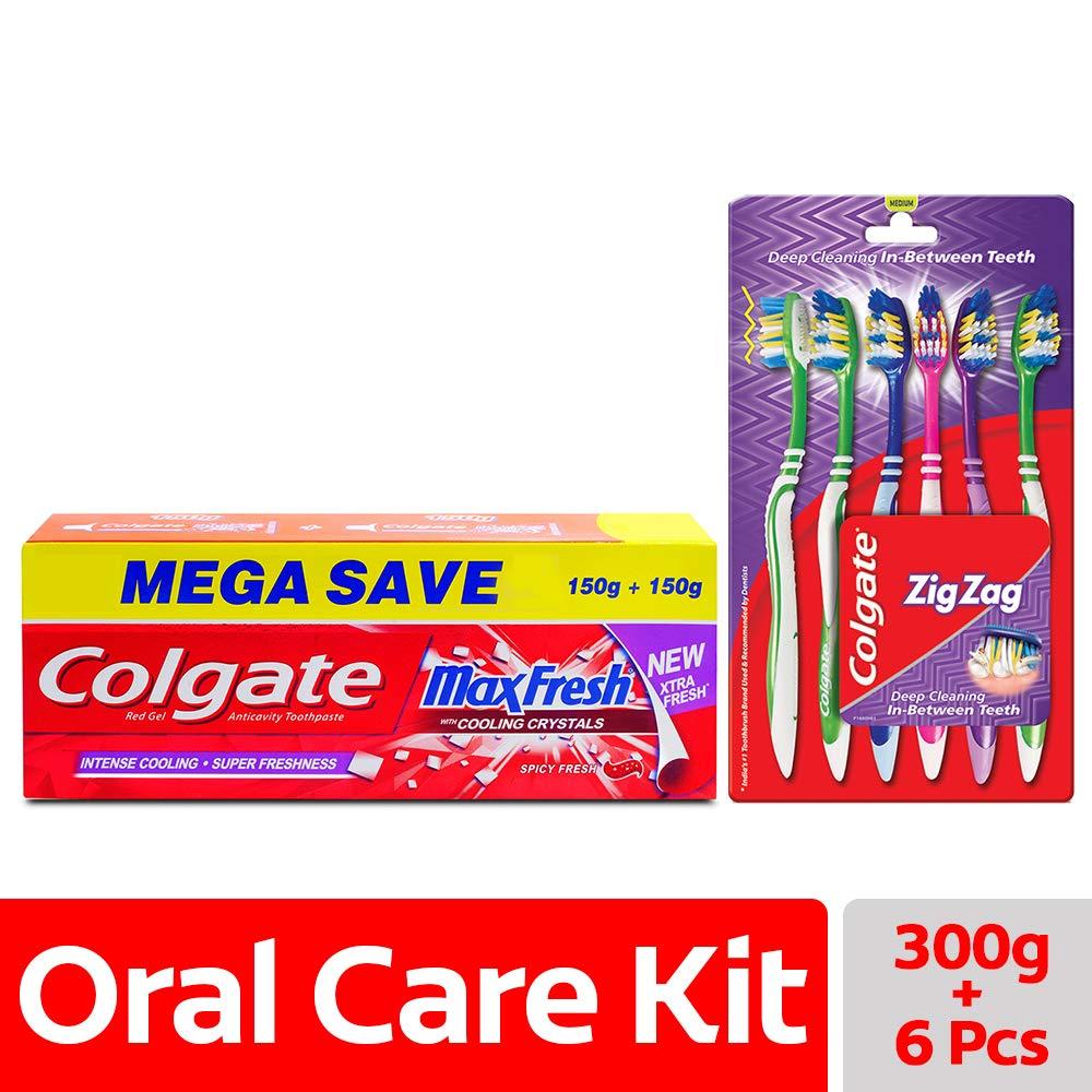 Colgate MaxFresh Spicy Fresh Toothpaste - 300 g with Zig Zag Medium (Pack of 6)