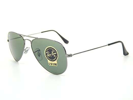 2ca7790cd78 New Ray Ban RB3044 W3100 Aviator Gunmetal Crystal Green 52mm Sunglasses   Amazon.co.uk  Clothing