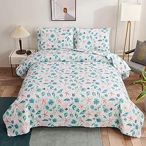 Coastal Quilts Set Conch Seashell Starfish Bedding Full/Queen Size,3Pcs Lightweight Beach Bedspreads Reversible Ocean Nautical Bedding Coverlets Pillow Shams,Blue Red