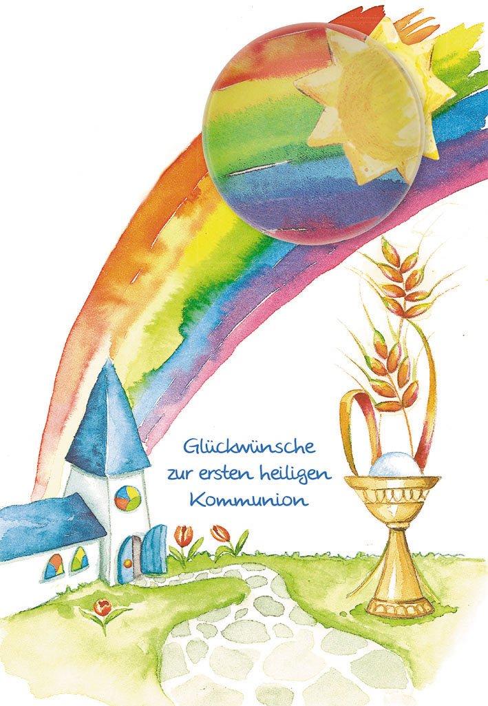 Postkarte mit Glasmagnet Gl/ückw/ünsche zur ersten heiligen Kommunion