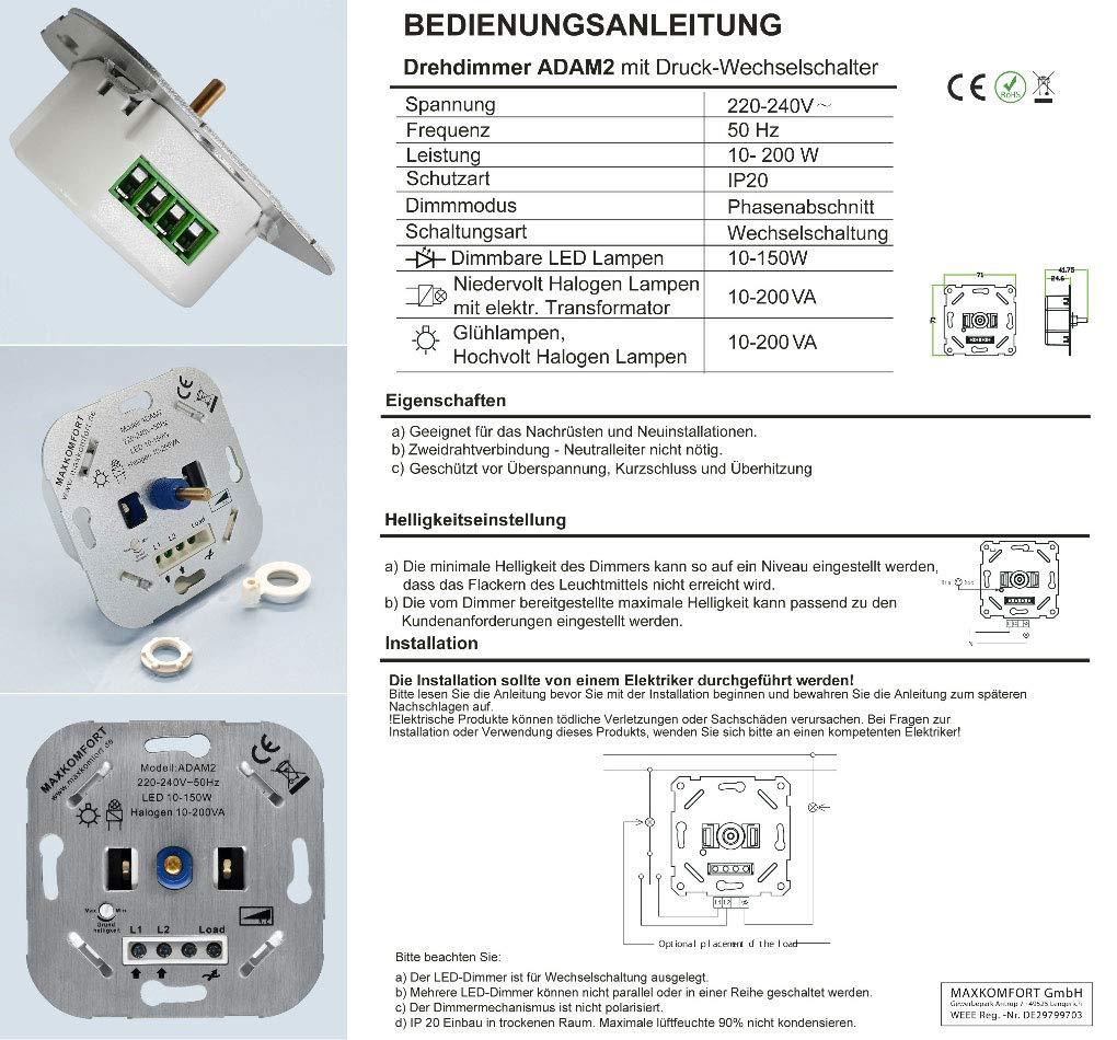 Led Dimmer 230v Unterputz Phasenabschnitt R C 10 200w Drehdimmer