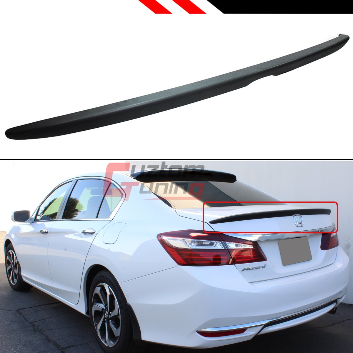 Cuztom Tuning Sport Style Flush Fit Trunk Lid Spoiler Wing Compatible with 2013-2017 Honda Accord 4 Door Sedan Model Only