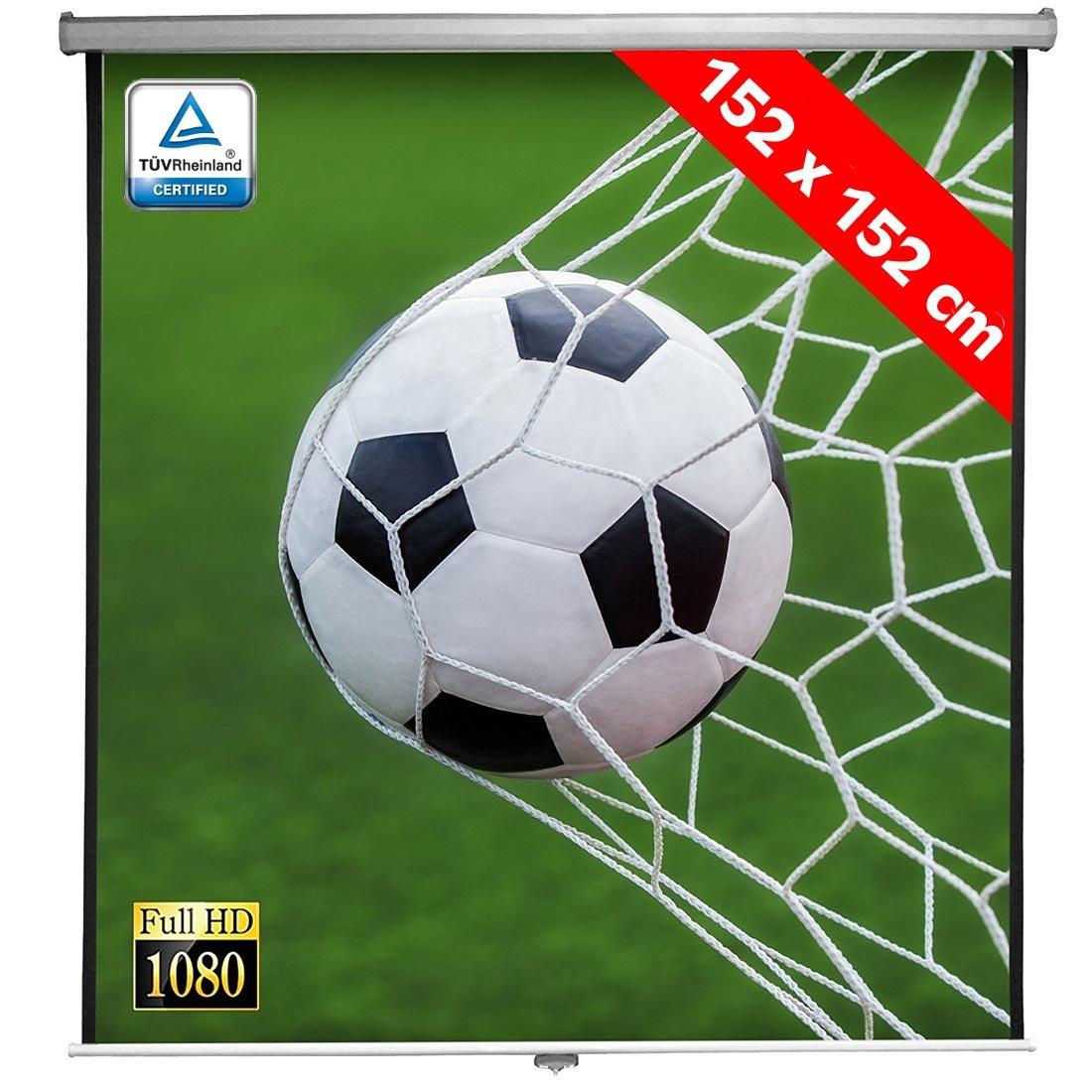 Bakaji Schermo per Proiezione Videoproiettore 84 Home Cinema Telo Proiettore 152 x 152 cm FULL HD TV