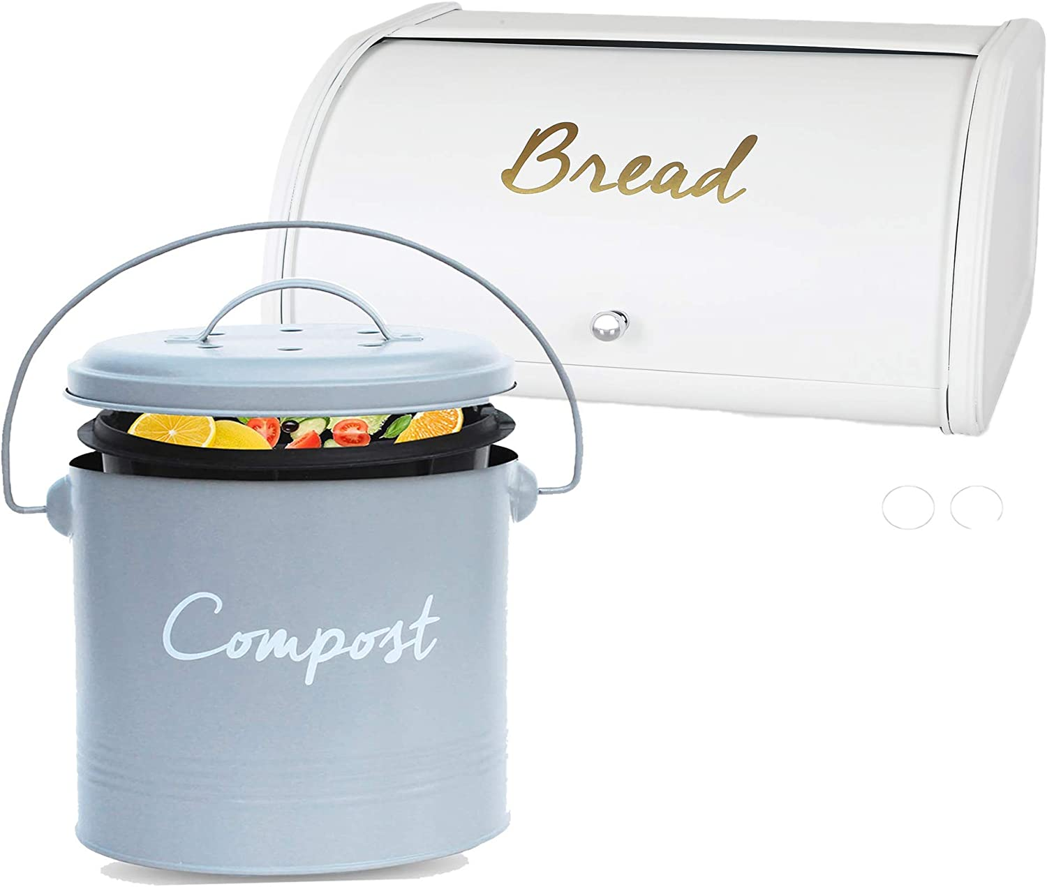 Compost BIN + Bread Box - Stainless Steel Compost Bin for Kitchen Counter - with Inner Compost Bucket for Kitchen Composter for Zero Waste Recycling + Farmhouse Bread Boxes for Homemade Bread