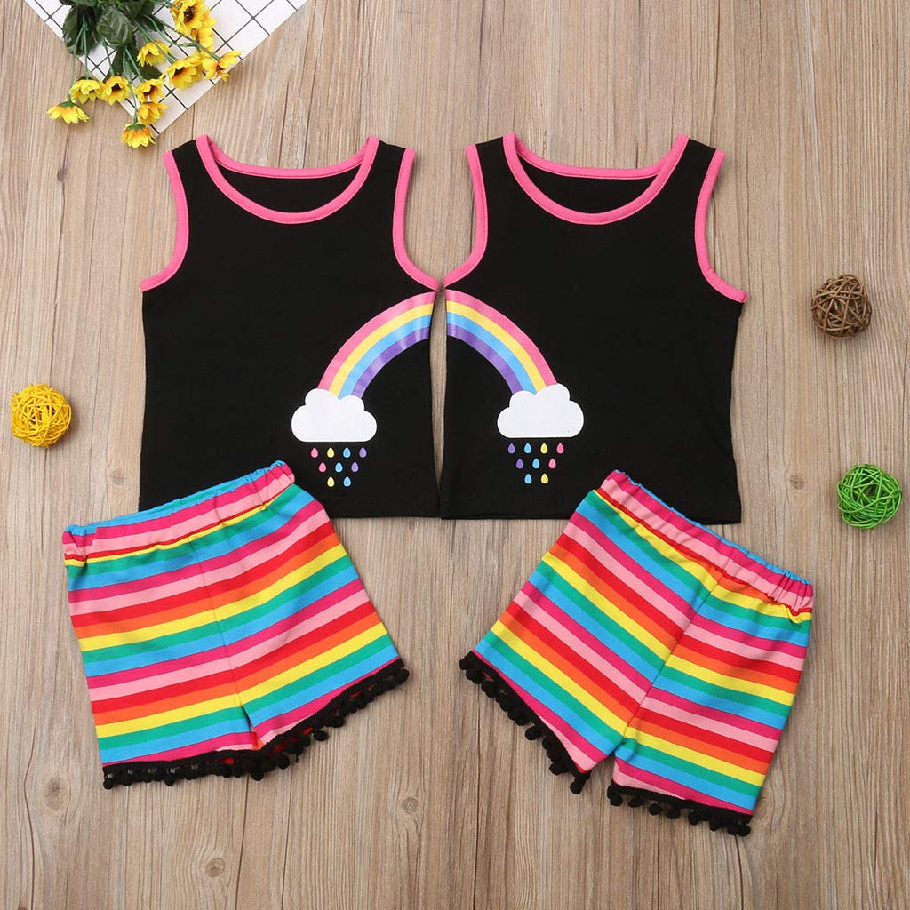 Efaster Toddler Baby Girl Sleeveless Rianbow Tops T-Shirt Stripe Tassels Shorts Pants Clothes Outfits Set 0-3Years