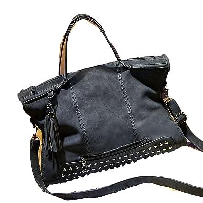 53d79d03e03d Rivet Vintage PU Leather Handbag Fashion Tassel Messenger Women Shoulder Bag  Top-Handle Bags Travel