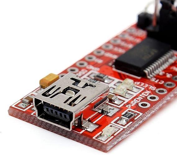 FT232RL Modulo 5V 3.3V FTDI USB TTL Adaptador de conversion Rojo SODIAL R